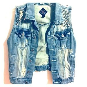 Denim vest with studs and Diamonds